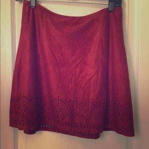 Express faux suede skirt